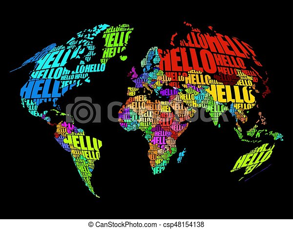 Hello word cloud world map in typography background concept hello word cloud world map csp48154138 gumiabroncs Gallery