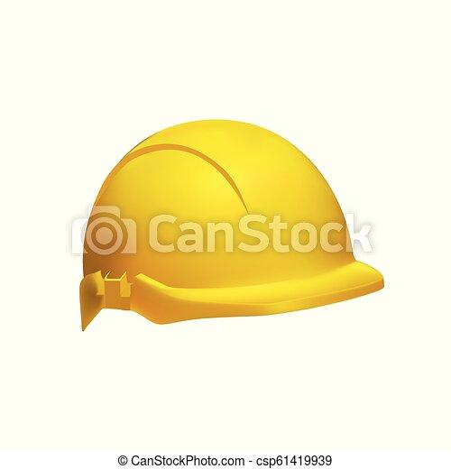 helm, hart, -, abbildung, realistisch, sicherheit, hut - csp61419939