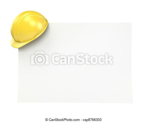 helm, papier, gele, leeg - csp8766303