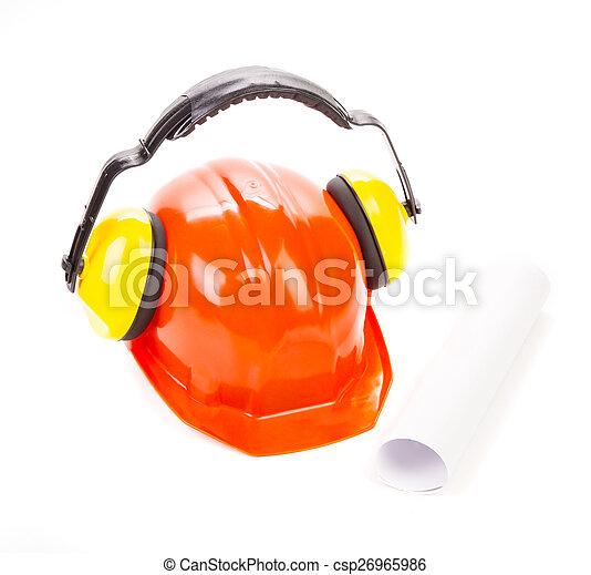 Roter Sicherheitshelm mit Kopfhörern - csp26965986