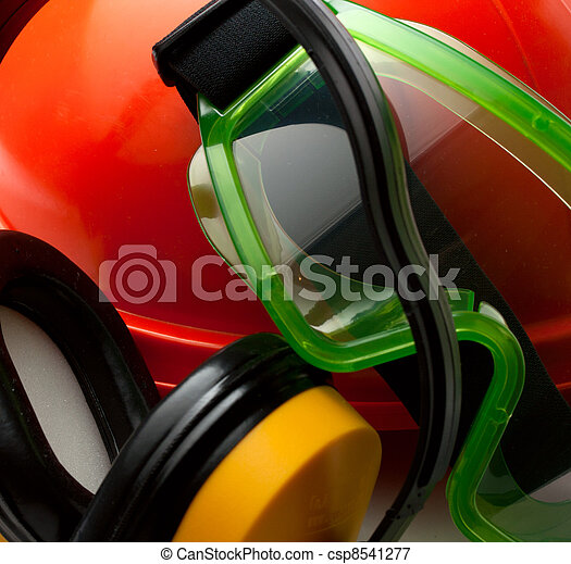 helm, schwimmbrille, sicherheit, kopfhörer, rotes  - csp8541277