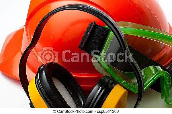 helm, schwimmbrille, sicherheit, kopfhörer, rotes  - csp8541300