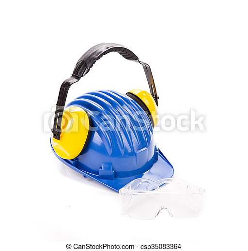 Blauer Sicherheitshelm mit Ohrhörern - csp35083364