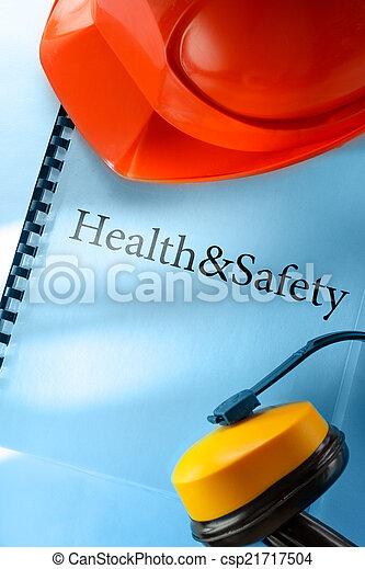 helm, sicherheit, kopfhörer, rotes  - csp21717504