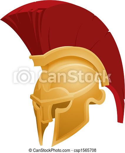 helm, spartan, illustratie - csp1565708