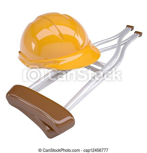 Helmet and crutches - csp12456777