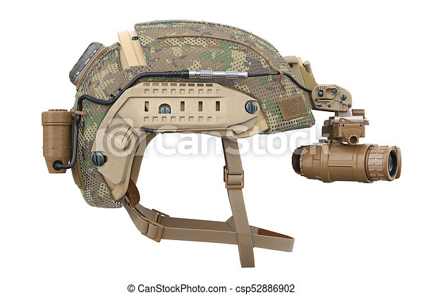 Helmet vision device, side view