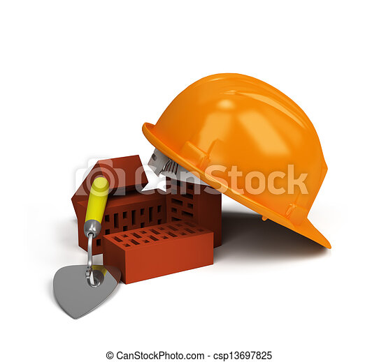 Helmet with bricks and trowel - csp13697825