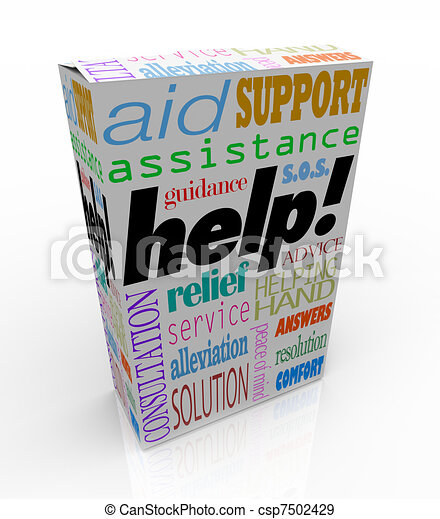 Help Assistance Words on Product Box Customer Support - csp7502429
