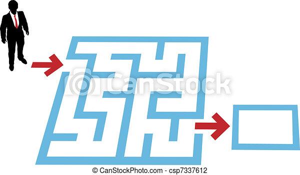 Help business person find maze problem solution - csp7337612