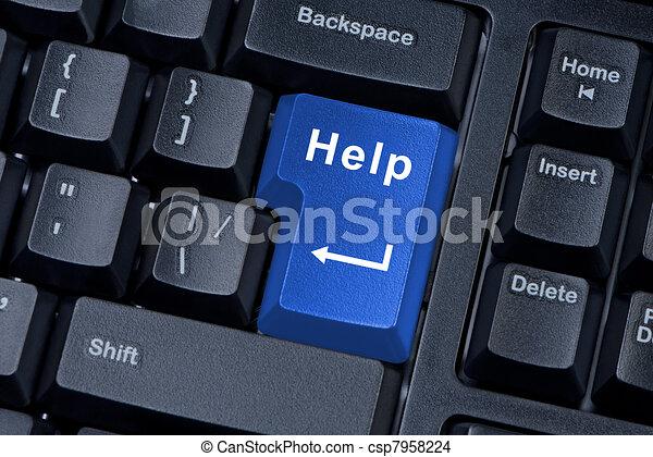 Help button computer keyboard internet concept. - csp7958224