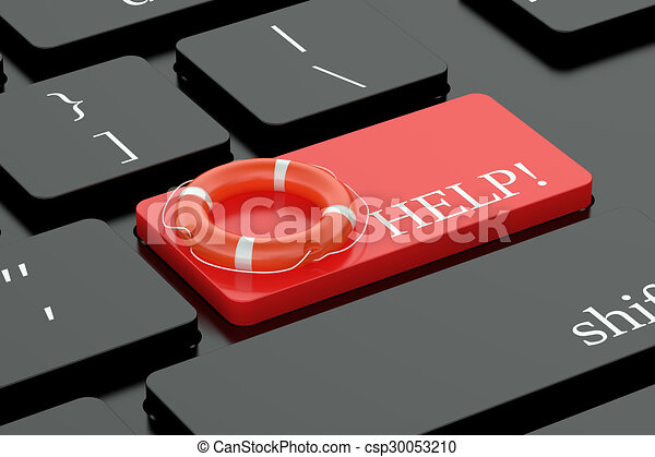 Help concept on keyboard button - csp30053210