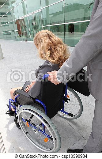 help handicapped woman on wheelchair - csp10390934