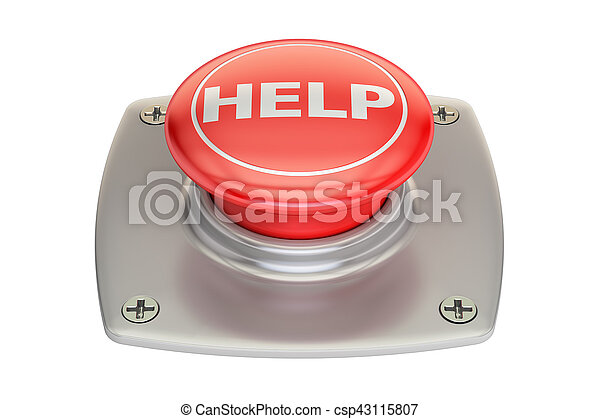 Help red button, 3D rendering - csp43115807