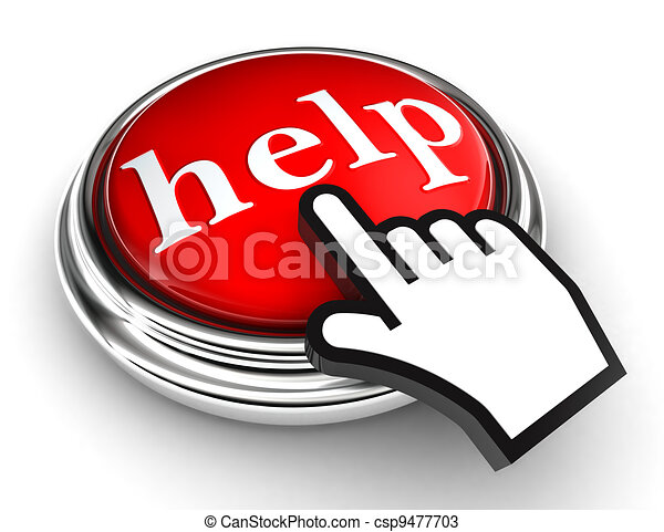 help red button and pointer hand - csp9477703