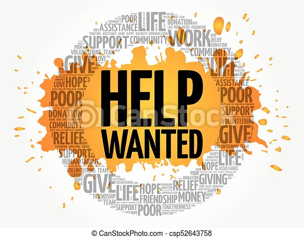 Help Wanted word cloud collage - csp52643758