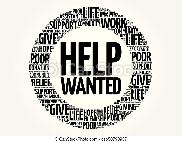 Help Wanted word cloud collage - csp58793957