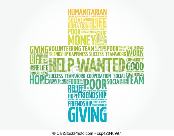 Help Wanted word cloud collage - csp42846997
