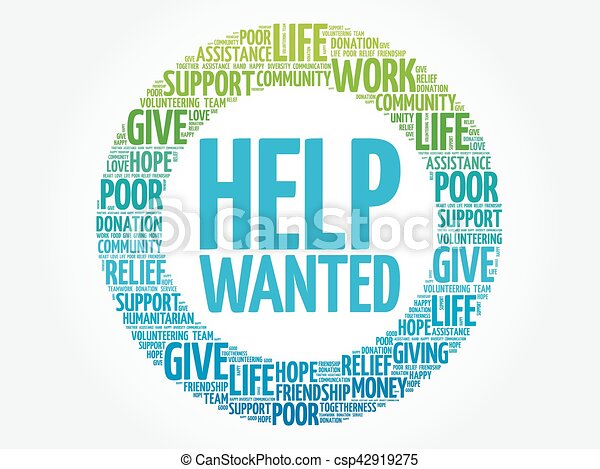 Help Wanted word cloud collage - csp42919275