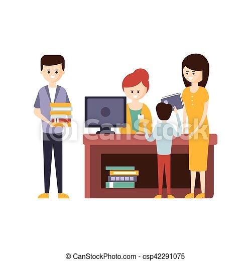 helpen, mensen, bibliotheek, boekhandel, boekjes , kiezen, gebruik, bibliothecaris, of - csp42291075