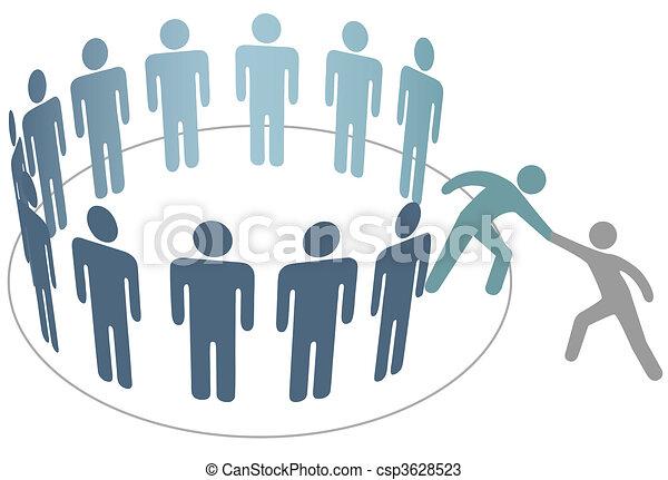 Helper helps friend join group of people members company - csp3628523