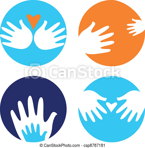Helpful and carrying hands icons isolated on white - csp8787181