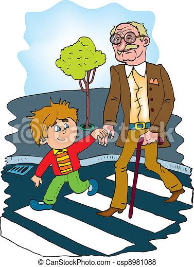 helpful children to help the old man color vector senior citizen clip art free senior citizen clipart cartoons