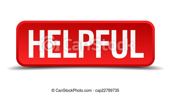 Helpful red 3d square button on white background - csp22789735