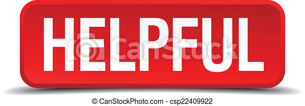Helpful red 3d square button on white background - csp22409922