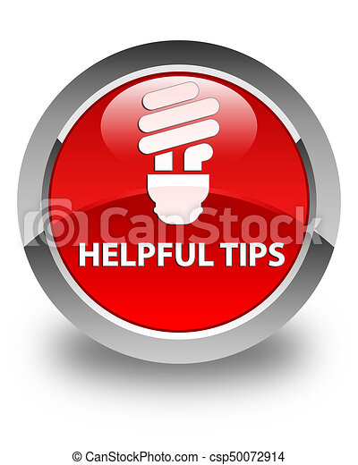 Helpful tips (bulb icon) glossy red round button - csp50072914