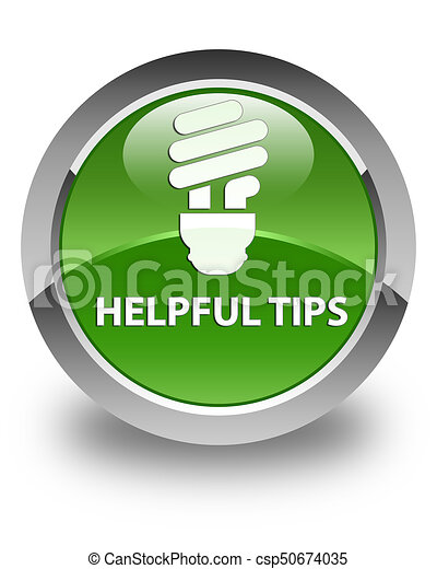 Helpful tips (bulb icon) glossy soft green round button - csp50674035