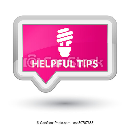 Helpful tips (bulb icon) prime pink banner button - csp50787686