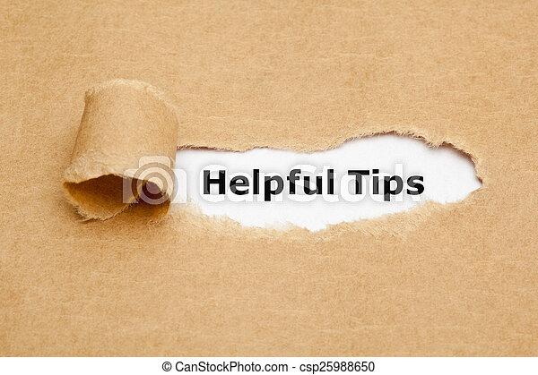 Helpful Tips Torn Paper - csp25988650