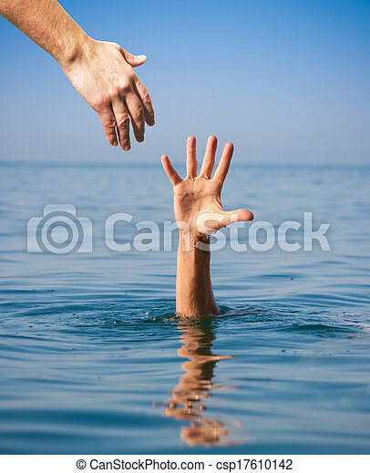 helping hand giving to drowning man in sea - csp17610142