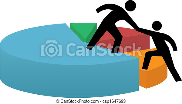 Helping hand to pie chart business financial success - csp1647693
