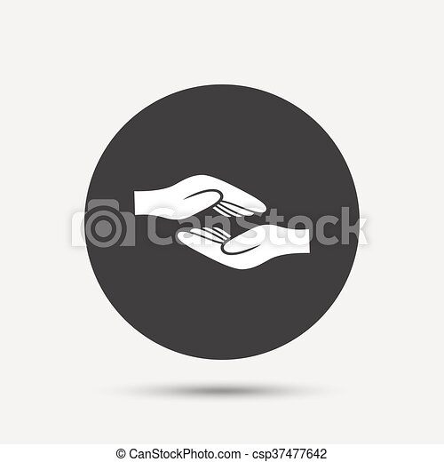 Helping hands sign icon. Charity or endowment. - csp37477642