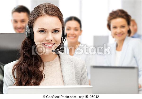 helpline operator with headphones in call centre - csp15108042
