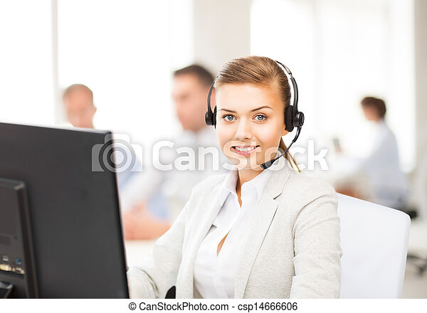 helpline operator with headphones in call centre - csp14666606