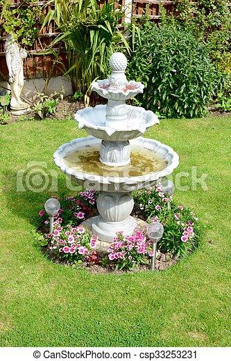 Bra Hem, fontän trädgård. Hem, sommar, fontän trädgård, tid. VD-21