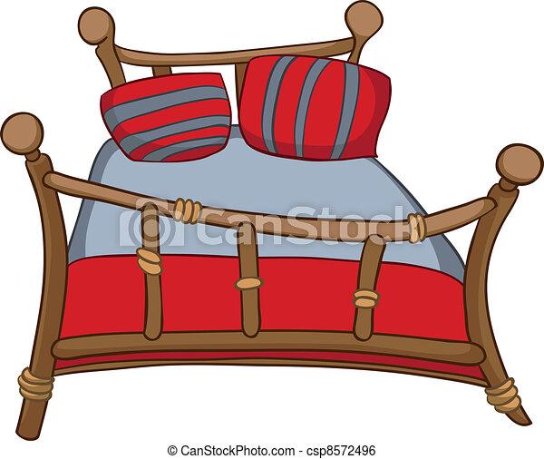 hem, tecknad film, säng, möblemang - csp8572496