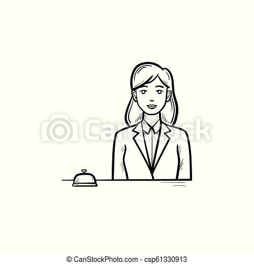 Recepcionista femenina en un hotel con una mano de campana dibujada en el esquema de garabato. - csp61330913