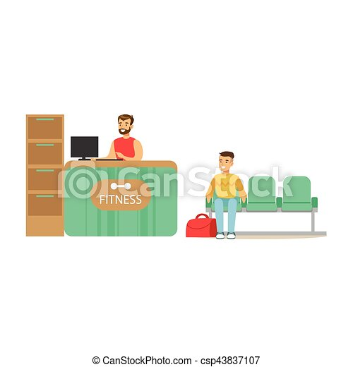 En el mostrador de recepción del club Fitness con recepcionista femenina y ordenador con miembro del club esperando - csp43837107