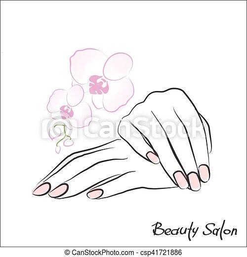 Hembra manicura manos Rosa hembra clavos pintado smbolo