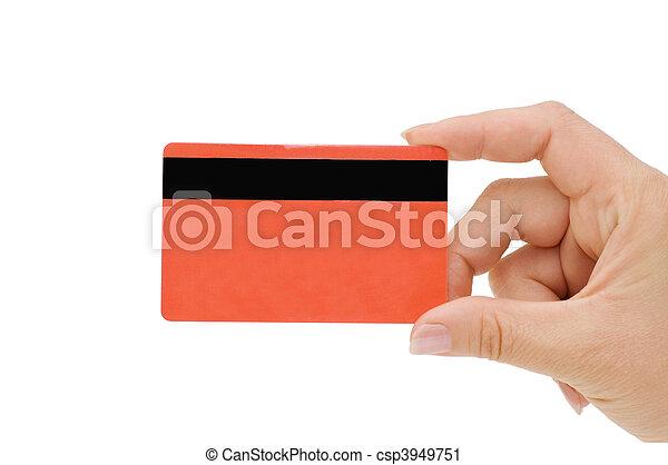 Tarjeta de crédito en mano femenina - csp3949751