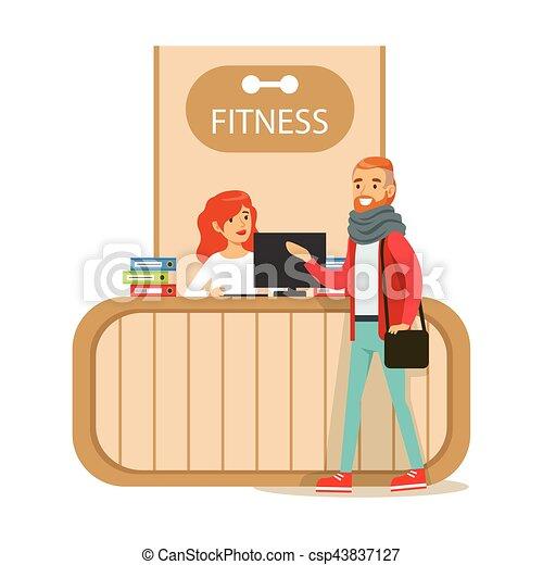 El mostrador de recepción del club de fitness con recepcionista femenina y ordenador con miembro del club de visita - csp43837127