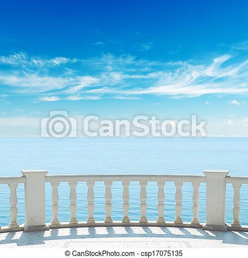 hemel, bewolkt, terras, zee, onder overzicht, balkon - csp17075135
