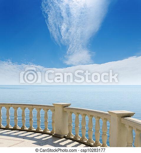 hemel, bewolkt, zwarte zee, onder overzicht, balkon - csp10283177