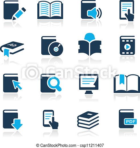 //, hemelsblauw, iconen, boek, reeks - csp11211407