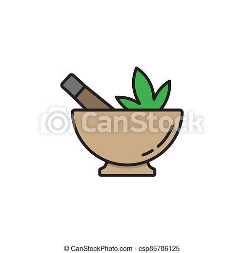 Hemp bowl vector icon symbol isolated on white background - csp85786125