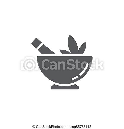 Hemp bowl vector icon symbol isolated on white background - csp85786113
